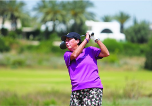 HALL OF FAME golfer Amy Alcott tees off at the SHALVA Golf Tournament this week in Caesarea. (photo credit:YOSSI KLAR)