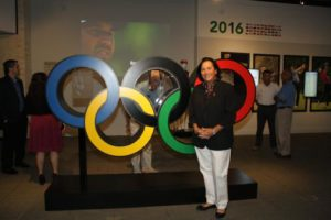 "Alcott at the grand opening of the ""Road to Rio"" exhibit at the World Golf Hall of Fame in St. Augustine, Florida, this past June. Image courtesy of the World Golf Hall of Fame."